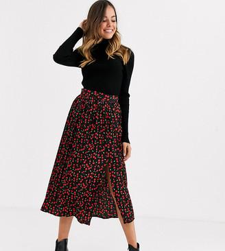 Wednesday's Girl pleated midi skirt in mini cherry ditsy print-Black