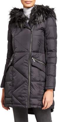 French Connection Faux Fur Hood Asymmetric Zip Coat