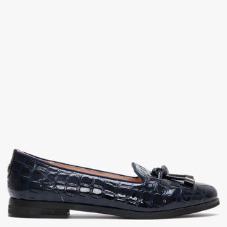 Moda In Pelle Elissy Navy Patent Leather Moc Croc Loafers