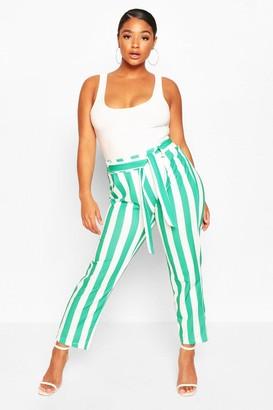 boohoo Plus Striped Dress Pants