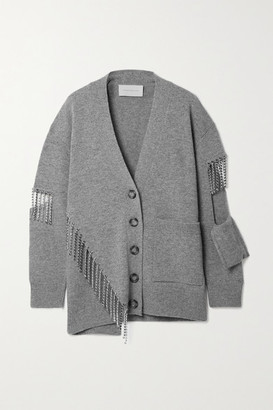 Christopher Kane Crystal-embellished Cutout Wool Cardigan - Gray