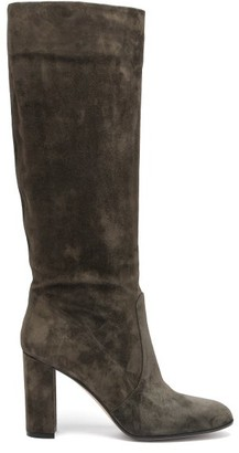 Gianvito Rossi Glen 85 Suede Knee-high Boots - Dark Green