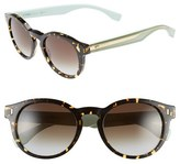 Fendi Women's 50Mm Round Sunglasses - Brown/ Havana/ Yellow