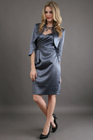 Adrianna Papell Draped Crepe Jacket Dress in Charcoal