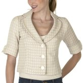 Mossimo® Black: Notch-Collar Boucle Jacket - Houndstooth/ Cream