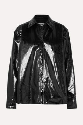 we11done Snake-effect Faux Patent-leather Shirt - Black