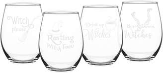 Cathy's Concepts Cathys Concepts Set Of 4 Drink Up Witches 21Oz Stemless Wine Glasses