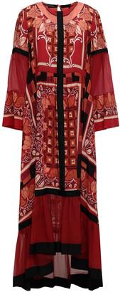 Alberta Ferretti Fluted Printed Silk Crepe De Chine And Georgette Midi Dress