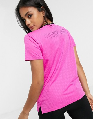 Nike short sleeve top in fire pink and reflective silver