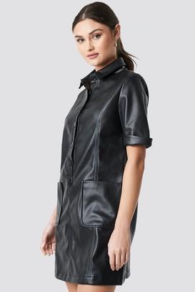 NA-KD PU Button Up Mini Dress Black