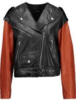 Isabel Marant Audric Two-Tone Asymmetric Leather Jacket