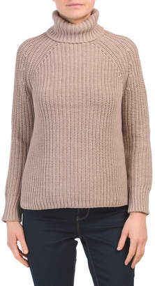 Tweed Turtleneck Tunic Sweater