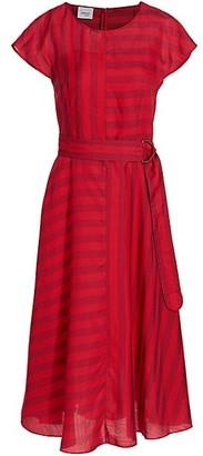 Akris Punto Mixed Stripe Belted Midi Dress