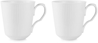 Royal Copenhagen Set of 2 Fluted Coffee Mugs - White