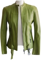Plein Sud Jeans Green Leather Leather Jacket for Women