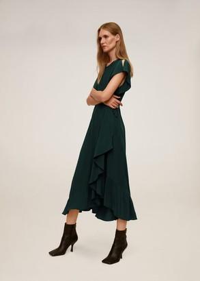 MANGO Ruffled midi dress emerald green - 2 - Women