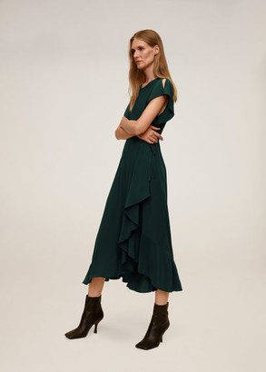MANGO Ruffled midi dress