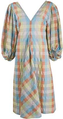 Ganni Seersucker Checkered Puffer Sleeves Dress