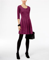 NY Collection Petite Faux-Suede Fit & Flare Dress