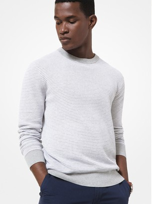 Michael Kors Striped Textured Cotton Sweater