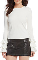 Gianni Bini Dana Tiered Bell Sleeve Rib Knit Top