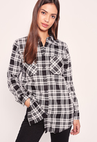 Missguided Brushed Checked Shirt Black