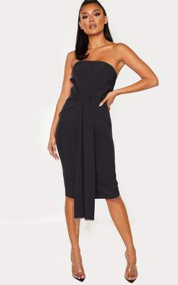 PrettyLittleThing Black Jewelled Tassel Bandeau Drape Midi Dress