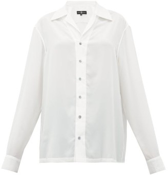 Edward Crutchley Cuban-collar Silk-habotai Shirt - White