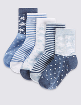 Marks and Spencer 5 Pairs of Cotton Rich Socks with FreshfeetTM (12 Months - 14 Years)