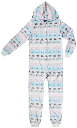 Jellifish Girls 4-16 Printed Hooded One-Piece Union Suit Pajamas