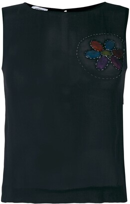 Moschino Pre Owned frayed patch sleeveless blouse
