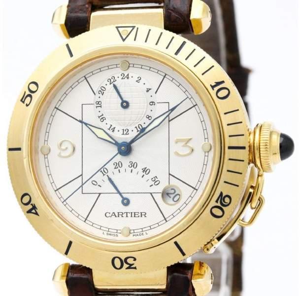 Cartier Pasha W3014456 18K Yellow Gold Automatic 38mm Mens Dress Watch