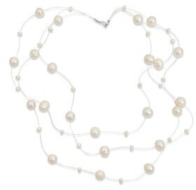 Bling Jewelry Black Freshwater Cultured Pearl Illusion Strand Necklace