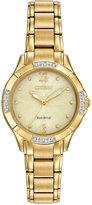 Citizen Women's Eco-Drive Diamond Accent Gold-Tone Stainless Steel Bracelet Watch 30mm EM0452-58P