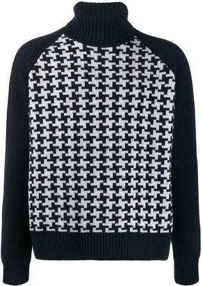 Cruciani turtle neck houndstooth jumper