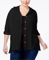 Style&Co. Style & Co Plus Size Hooded Jacquard Cardigan, Created for Macy's