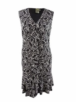 Taylor Dresses Women's Plus Size Sleeveless Ruffle Front Print Dress