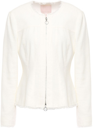 Rebecca Taylor Frayed Linen-blend Twill Peplum Jacket