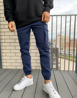 Jack and Jones Intelligence nylon tech detail cuffed cargo pants in navy