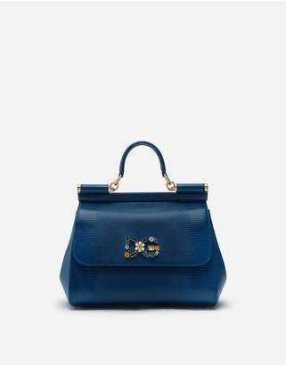 Dolce & Gabbana Medium Iguana Print Calfskin Sicily Bag With Crystal Logo Patch