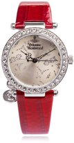 Vivienne Westwood Orb Women's Quartz Watch with Beige Dial Analogue Display and Red Leather Strap VV006SLRD