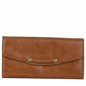 Claudia Canova Womens Long Rounded Flap Over Purse Clutch Beige (Beige)