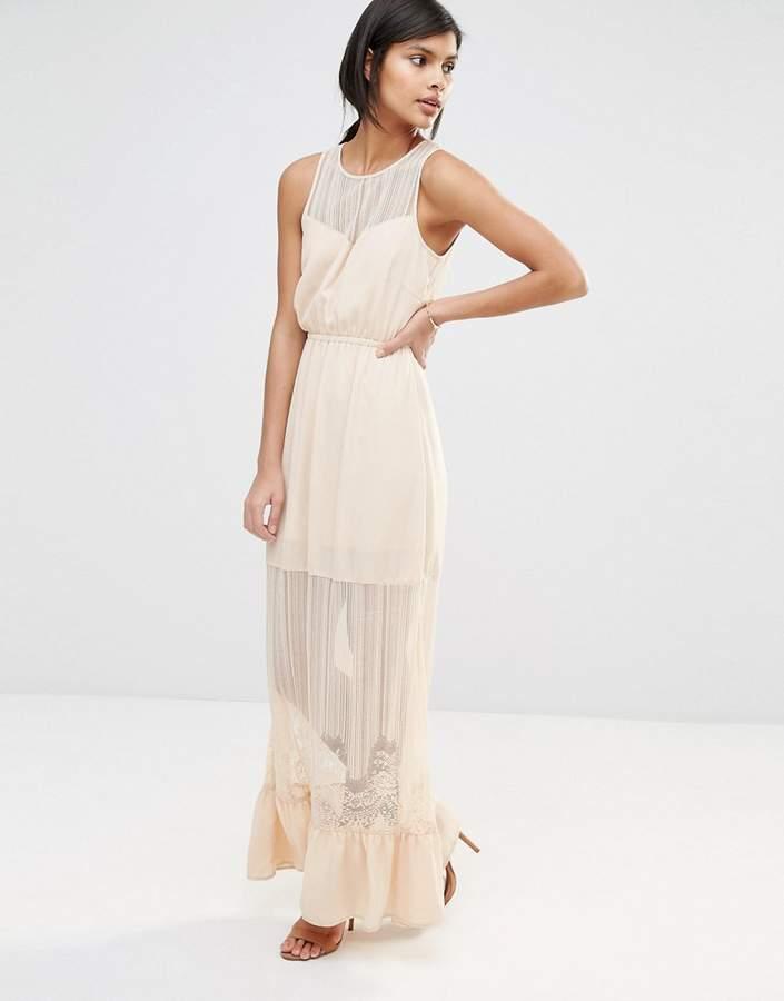 Vero Moda Sheer Lace Insert Maxi Dress with Ruffle Hem