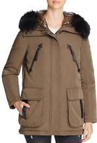 Derek Lam 10 Crosby Fur Trim Mixed Media Down Parka