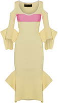 Roland Mouret Corely Cold-shoulder Ribbed-knit Midi Dress - Pastel yellow