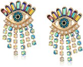 Betsey Johnson Mystic Baroque Queens Colorful Evil Eye and Fringe Stud Earrings