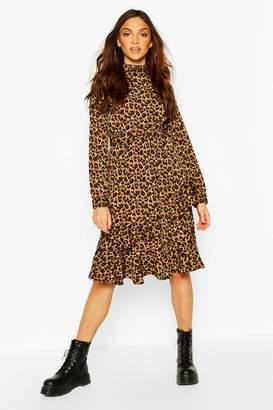 boohoo Leopard Print High Neck Ruffle Midi Dress