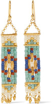 Chan Luu Gold-plated Beaded Earrings - Mint