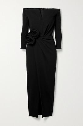 Oscar de la Renta Off-the-shoulder Appliqued Gathered Wool-blend Crepe Midi Dress - Black