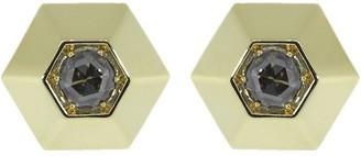 Fred Leighton 18kt Yellow Gold Hexagon Diamond Stud Earrings